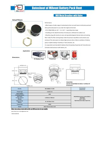 M20 breather with valve for EV battery pack,powertrain,or gearbox