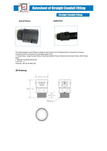 M32 Conduit Fitting for hose 34.5MM