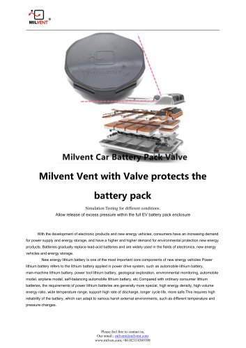 Milvent Battery Pack Vents Simulation Testing Report