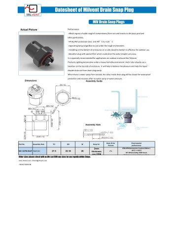 Milvent Drian Plug Snap In Type