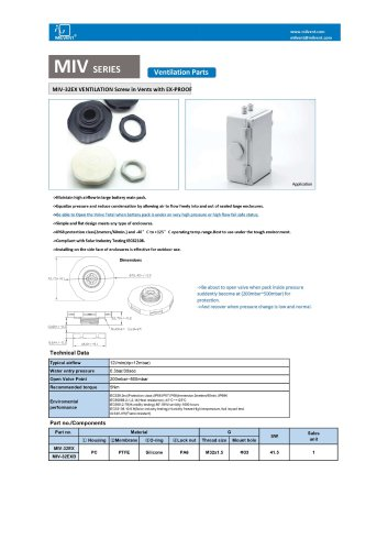 Milvent Vent with Valve for Battery Pack EV