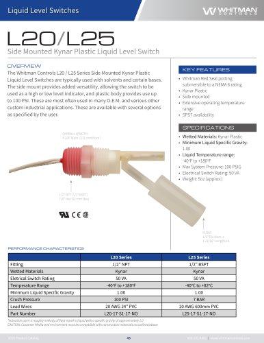 Side Mounted Kynar Plastic Liquid Level Switch