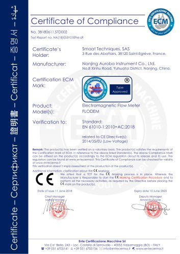 CE certificate of electromagnetic flow meter with  low pressure