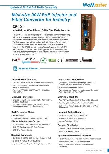 DP101 Mini-size PoE Fiber Converter for Extreme Environments   WoMaster
