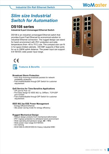DS108 Industrial 8-port Unmanaged Ethernet Switch   WoMaster