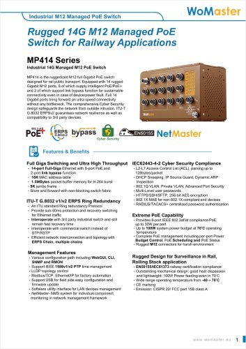 MP414- Industrial 14G Managed M12 PoE Switch   WoMaster