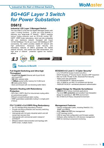 WoMaster-DS612-8G+4GF Layer 3 Switch for Power Substations
