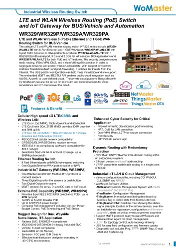 WR329P Industrial 8 PoE+ with 1G WAN and Dual Radio LTE/Wi-Fi Routing Switch for BUS/Vehicle   WoMaster