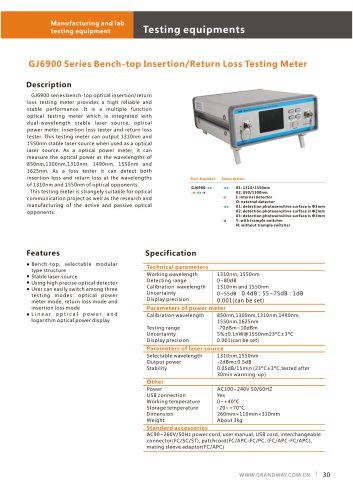 GJ6900 Series Bench-top Insertion / Return Loss Testing Meter