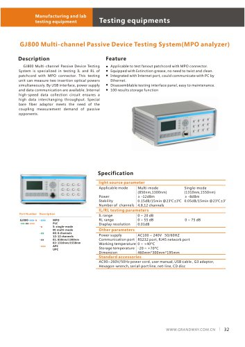 GJ800 Multi-channel Passive Device Testing System (MPO analyzer)