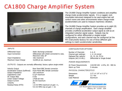 CA1800 CHARGE AMPLIFIER SYSTEM