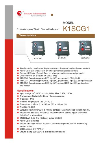 Safety Control-Ground fault indicator (K1SCG1)