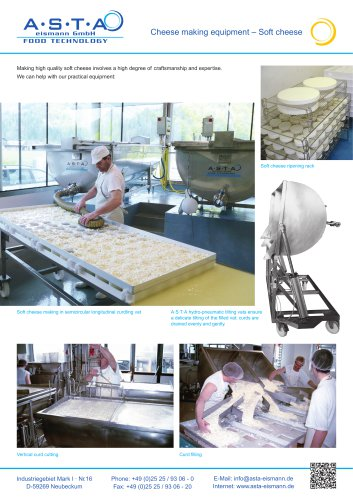 Cheese making equipment – Soft cheese