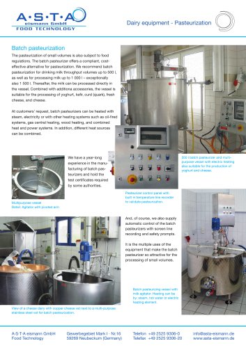 Dairy equipment - Pasteurization