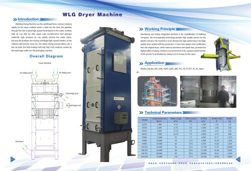 Weiliang WLG dryer machine for plastic industry