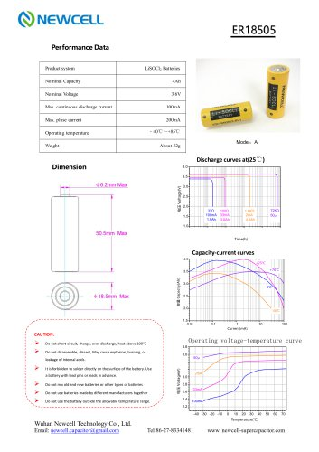Lithium Primary Battery Li-SOCL2 Battery ER18505