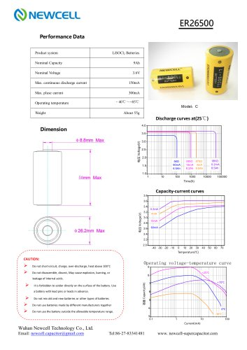 Lithium Primary Battery Li-SOCL2 Battery ER26500