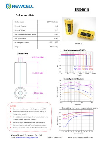 Lithium Primary Battery Li-SOCL2 Battery ER34615