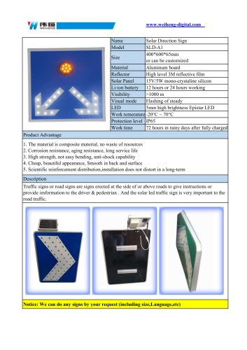 Solar Direction Sign SLD-A1