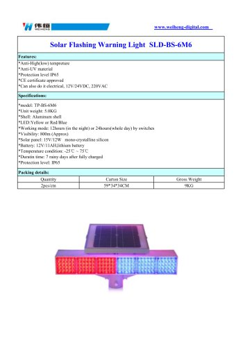 Solar Flashing Warning Light  SLD-BS-6M6