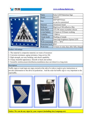 Solar LED Pedestrian Sign SLD-P3