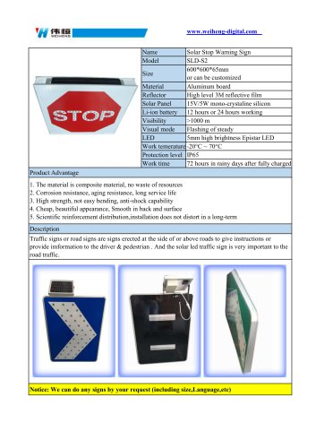 Solar Stop Warning Sign SLD-S2