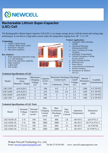 Specification of Lithium Super-Capacitor Cell