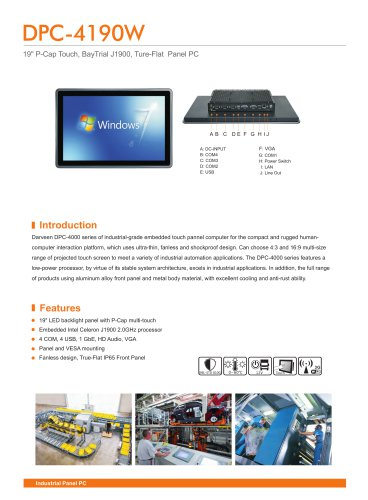 19inch(16:10) Capacitive Touch Panel PC with Cerelon J1900/DPC-4190W