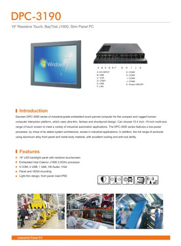 Darveen 19inch Resistive Touch Panel PC with Celeron J1900/DPC-3190