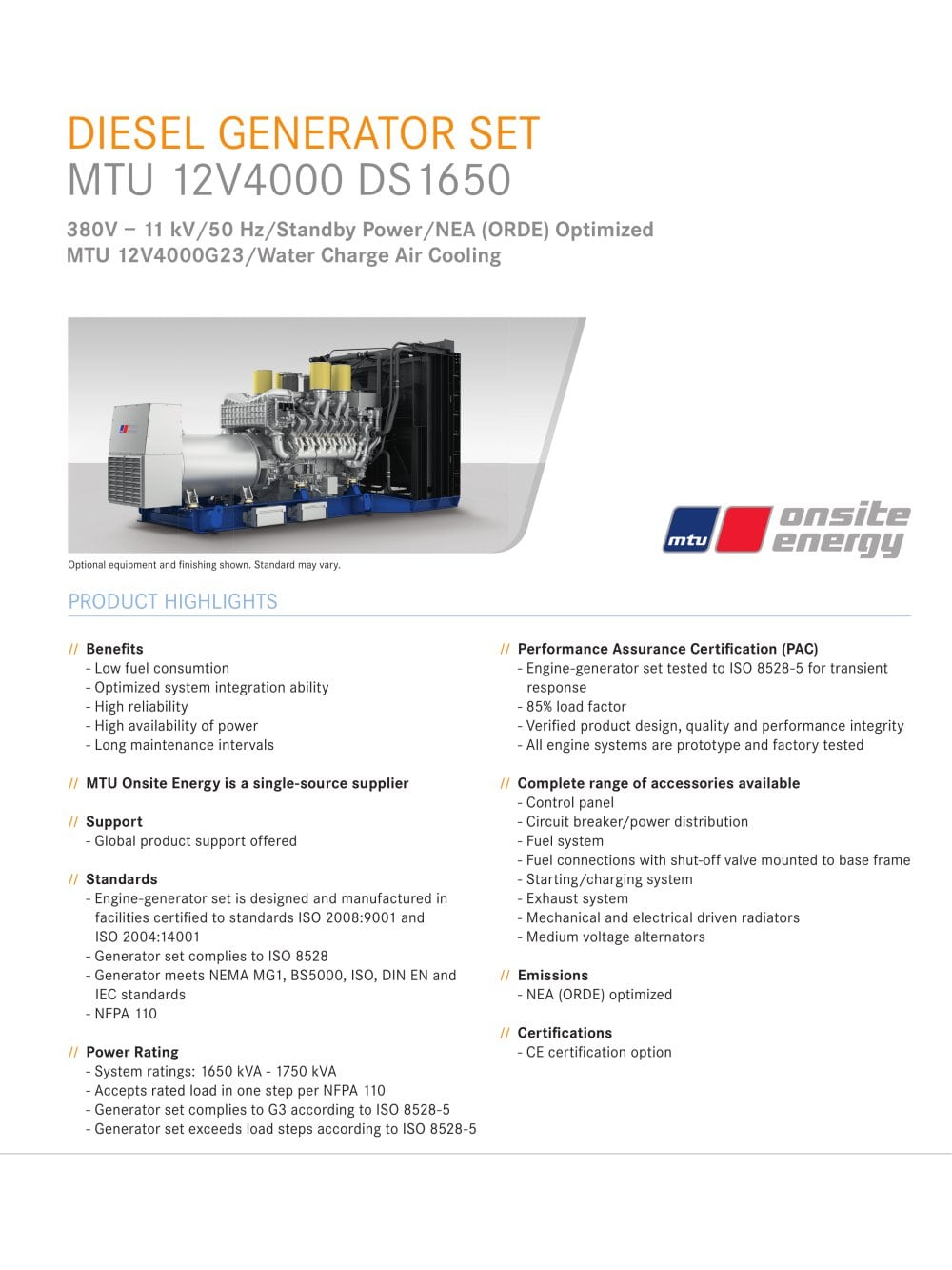 Diesel Generator Set Mtu 12v4000 Ds1650 Onsite Energy Pdf Control Panel Wiring Standards 1 6 Pages