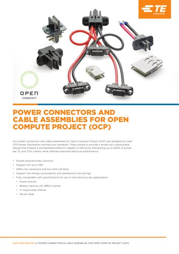 POWER CONNECTORS AND CABLE ASSEMBLIES FOR OPEN COMPUTE PROJECT (OCP)