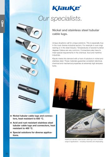 Tubular cable lugs and connectors - nickel, stainless steel