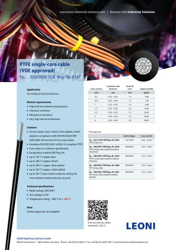 PTFE single-core cable (VDE approved)