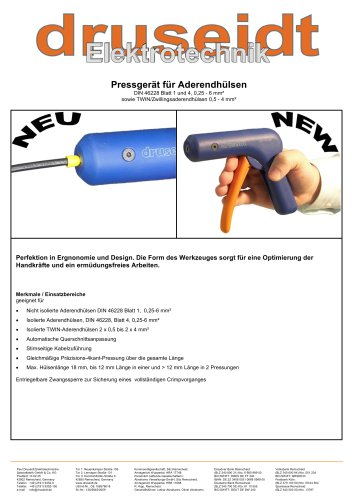 Crimping tool for cable end sleevesCrimping tool for cable end sleeves Info 04/2009