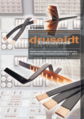 Flexible insulated braided copper tapes and supple bars Self-extinguishing, operating temperature up to + 105° C