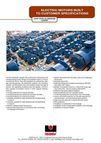 ELECTRIC MOTORS BUILT TO CUSTOMER SPECIFICATIONS