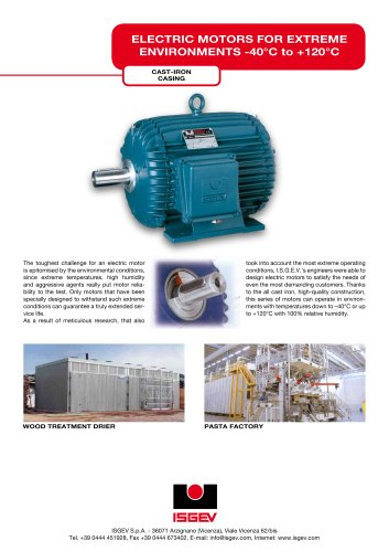 Electric motors for extreme environments -40°C to +120°C