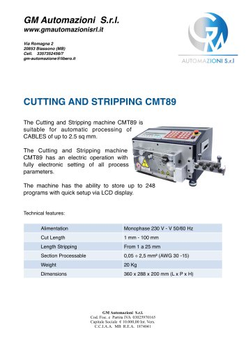 CUTTING AND STRIPPING CMT89