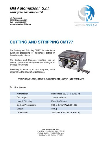 ELECTRONIC CUTTING AND STRIPPING CMT77