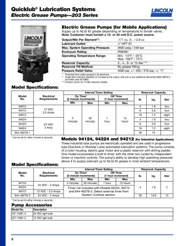 Quicklub® Lubrication Systems Electric Grease Pumps—203 Series