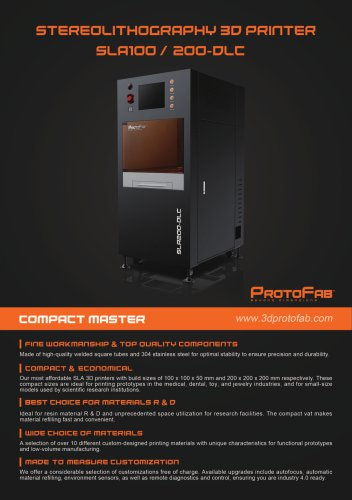 ProtoFab  3D printer SLA 100/200 DLC  brochure