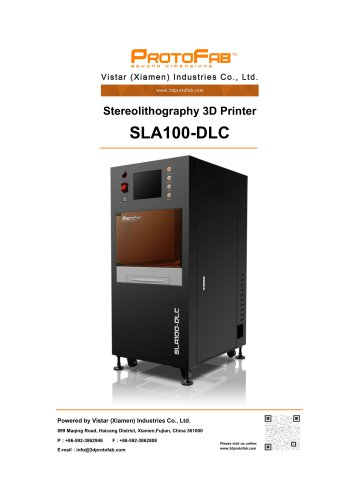 ProtoFab 3D printer SLA 100 DLC specification