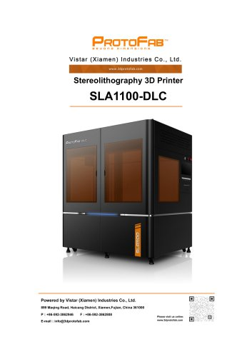 ProtoFab 3D printer SLA 110 DLC specification