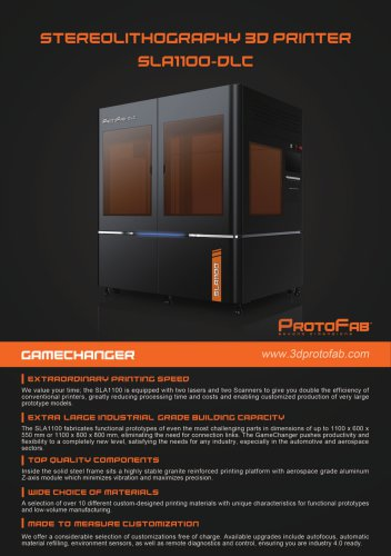 ProtoFab 3D printer SLA 1100 DLC brochure