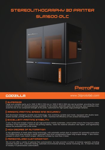ProtoFab 3D printer SLA 1600 DLC brochure