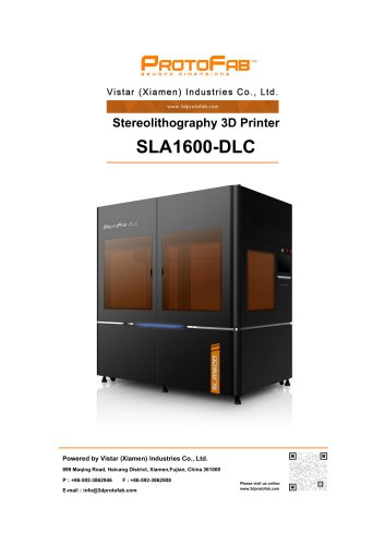 ProtoFab 3D printer SLA 1600 DLC specification