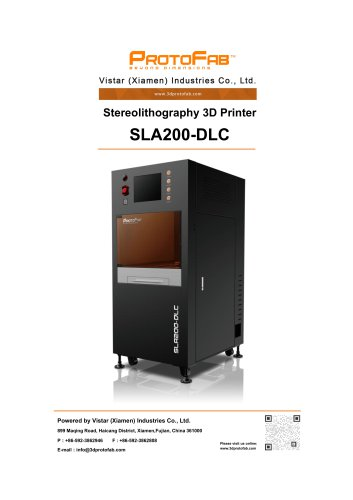 ProtoFab 3D printer SLA 200 DLC specification