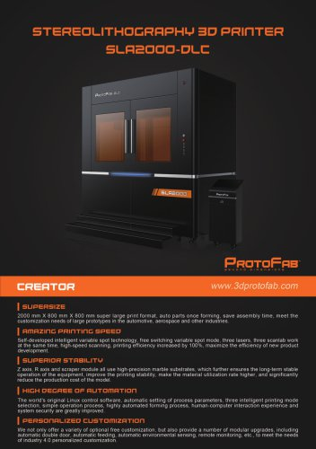 ProtoFab 3D printer SLA 2000 DLC brochure