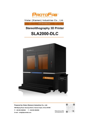 ProtoFab 3D printer SLA 2000 DLC specification