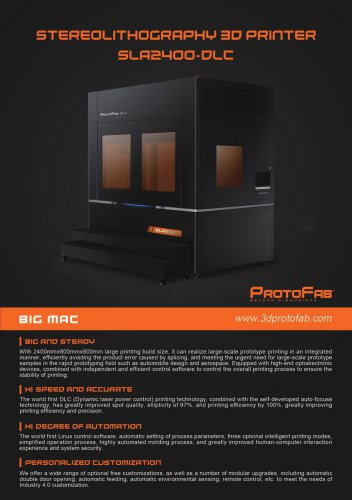 ProtoFab 3D printer SLA 2400 DLC  brochure